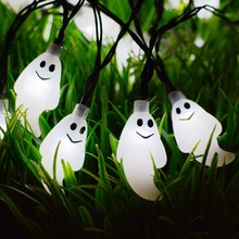 20 Led Ghost Solar String Lights Halloween Outdoor Waterproof Solar Power Light for Garden Patio Yard Christmas Parties(China)