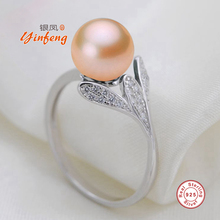 [MeiBaPJ]Personality Solid Silver Ring Noble Pearl Rings for Women semiround natural freshwater pearl Ring Jewelry(China)