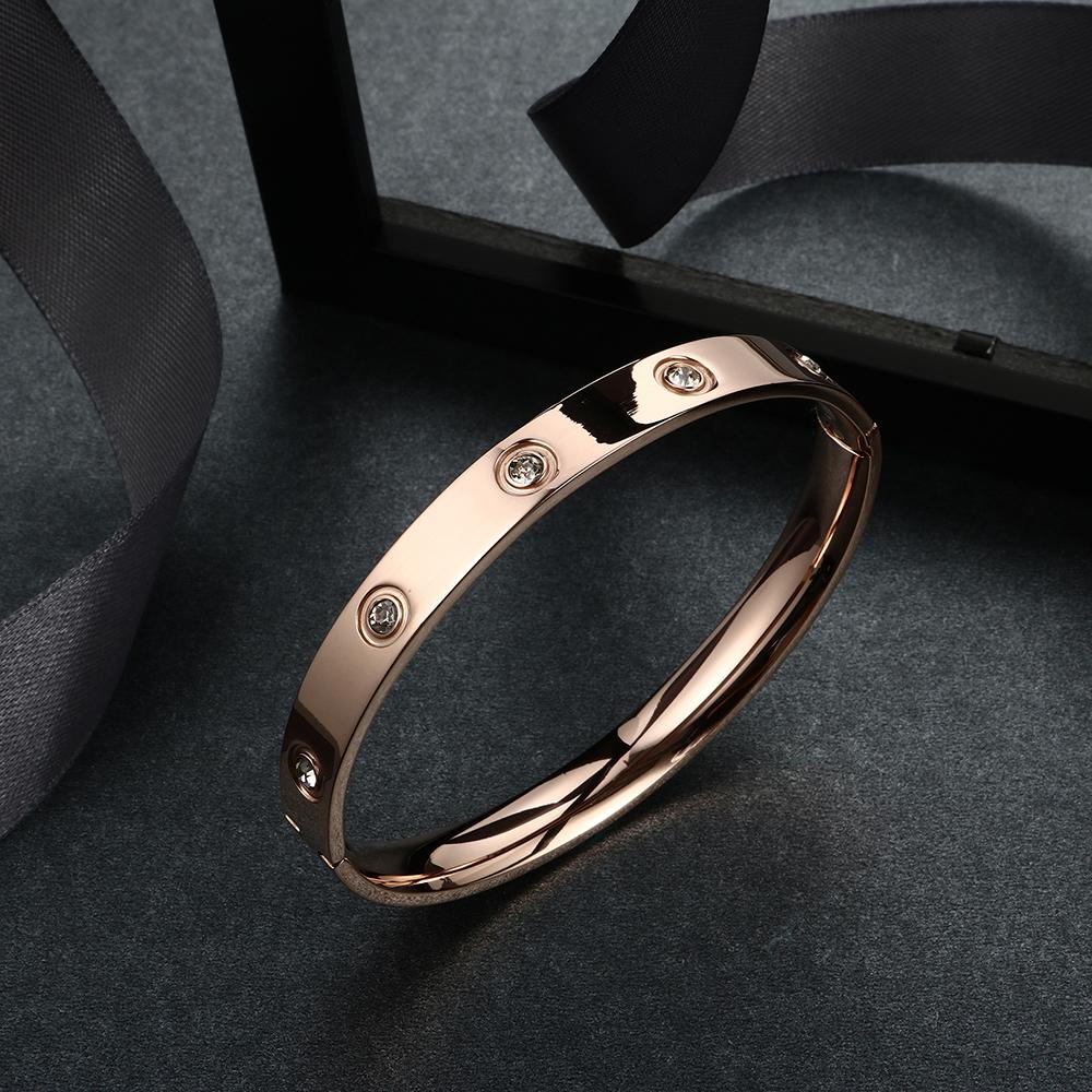 Trendy Rose Gold Love Bracelets Bangles Women Gold Color Stainless Steel Charming CZ Cuff Bracelet Lovers Luxury Brand Jewellery 16