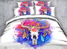 Hot Indian Sheep's Skull 3D Bedding Set Comforter Bedspreads Duvet Covers Single Twin Full Queen Super King Size Bed Purple Pink