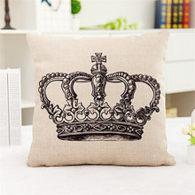 Crown Geometric classic black grey pattern letter Sofa home coffee shop hotel Cushion Cover Decoration Pillow Case for gift(China)