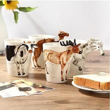 1PC Hand-Painting 3D Animals Mug White Horse Deer Milk Cow Camel Lion Mug Creative Coffee Tea Milk Mugs Office Home
