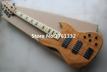 Factory custom 20 frets 5 strings natural wood color electric bass guitar with flame maple veneer,black hardware,can be changed(China)