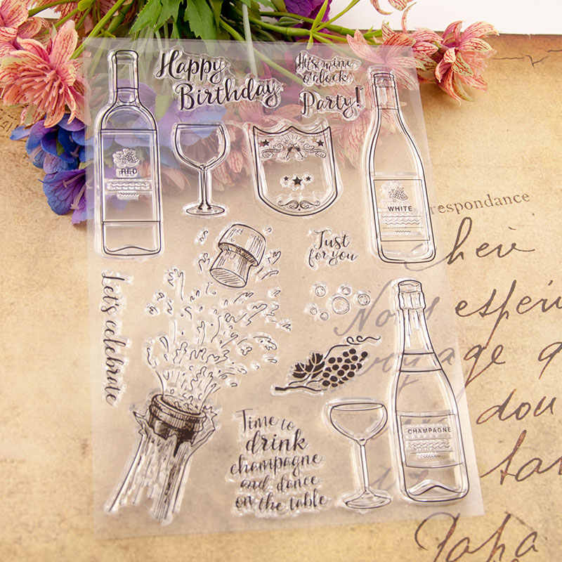 Wine Bottle Letters Metal Cutting Dies or Rubber Clear Stamps for Scrapbooking DIY Embossing Folder Paper Maker Template Decor