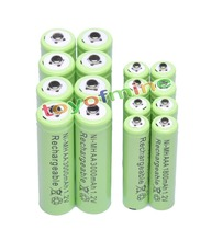 8x AA 3000mAh + 8x AAA 1800mAh 1.2V NiMH Green Color Rechargeable Battery Cell 2A 3A