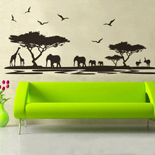 New Arrival African Safari Themed Wall Sticker Jungle Animal Tree Mural Pattern Good Design For Living Room Decor Hot Sale