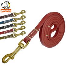 Genuine Leather Dog Leads Pet Walking Leashes 1.0cm Wide 1.3M /1.7M /1.9M Length For Puppy Daily Walking Training