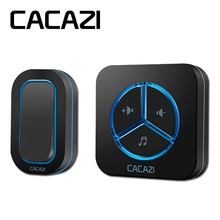 CACAZI 9909 IP44 Waterproof Wireless Doorbell 280M remote US/EU/UK plug 48 ringtones 6 volume door chime tamper-proof door ring(China)