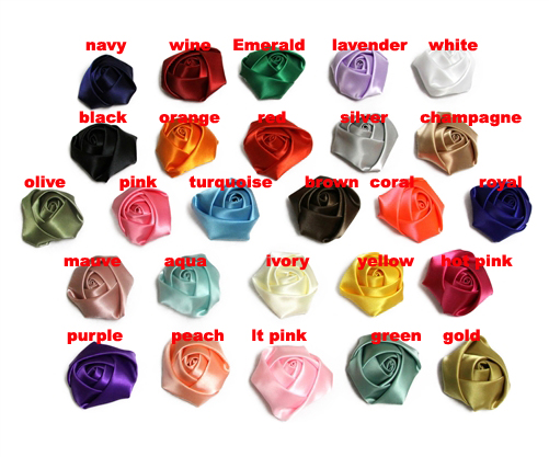 "2"" satin rolled rosette , satin rolled rose flower,free shipping 100pcs/lot(China)"