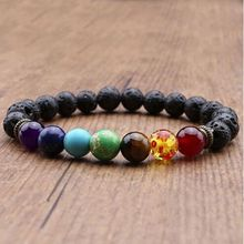 7 Chakra Healing Beaded Bracelet Natural Lava Stone Diffuser Bracelet Jewelry(China)