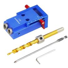 2017 New Mini Kreg Style Pocket Hole Jig Kit System For Wood Working & Joinery + Step Drill Bit & Accessories Wood Work Tool Set(China)