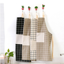 Anti Oil Cleaner Kitchen Home Workwear Waist Aprons Cotton And Linen Cloth Plain Lattice Apron 5.5 TXJ(China)
