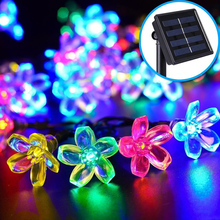 Solar Power Fairy String Lights 5M 40 LED Peach Blossom Decorative Garden Lawn Patio Prom Christmas Trees Wedding Party Supplies
