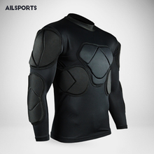 New sports safety protection thicken gear soccer goalkeeper jersey t-shirt outdoor elbow football jerseys vest padded protector(China)