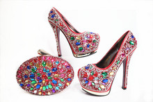 SB8033 red high heel 6 inches wedding shoes matching colorful stones clutches bag very nice shinning shoes matching bag set(China)