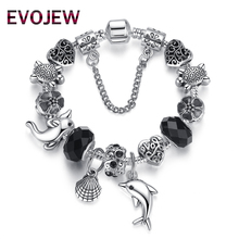 Christmas Gift 925 Vintage Silver Animal Seashells Dolphin Charm Bracelet for Women Original DIY Black Glass Beads Jewelry