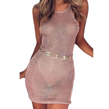 Sexy Beachwear Lace Up Crochet Dress Women Summer Perspective Hollow Out Mini Dress Short Pink Beach Party Dress