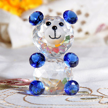 H&D Quartz Crystal Glass Animal Decorative Teddy Bear Figurine Paperweights Crystals Crafts Figurines Home Wedding X'mas Gifts