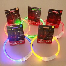 1pcs  Pet Dog LED Flashing Band Belt Safety PuppyRechargeable USB Lights Night Collar