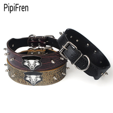 PipiFren Spiked Big Dogs Collars Supplies For Accessories Large Dog Necklace Leather Pets Collar coleiras para cachorro honden(China)