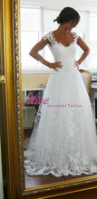 Vintage Sheer A-line Wedding Dresses 2014 New Fashion Sexy Sheer Back Wedding Dresses Designer  Bridal Gowns BRI 725