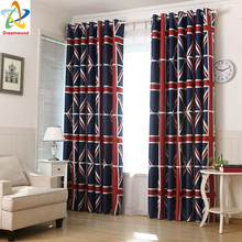100% Polyester Printed with British Flag Red Blackout Curtains, Livingroom Finished Curtains Design