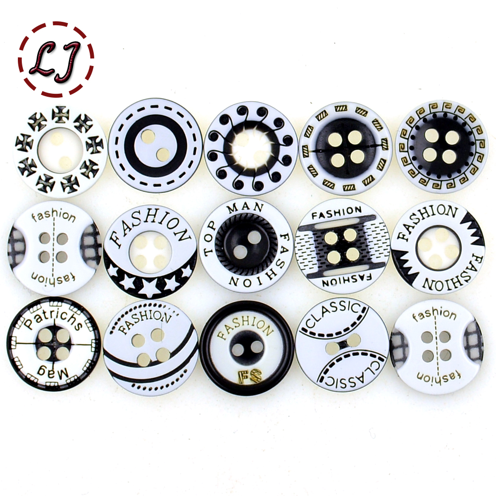 Hot sale 30pcs/lot 12mm black&white plastic resin button cloth accessories man women fashion T-shirt sewing buttons scrapbooking(China)