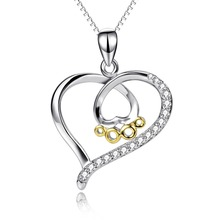 PYX0218 100% Real Pure 925 Sterling Silver Crystal CZ Love Heart Dog Paw Print Pendant Necklace Jewelry Gift For Women