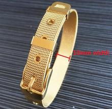 Fashion Gold Color jewelry Women/Men's Stainless Steel Bracelet Bangle Cuff Belt Buckle Mesh Classic Free Shipping