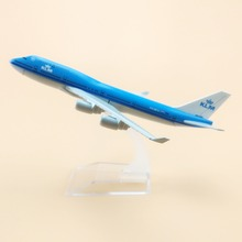 16cm Alloy Metal Air KLM Airlines B747 Aircraft Airplane Model Boeing 747 400 Airways Plane Model w Stand Crafts Gift