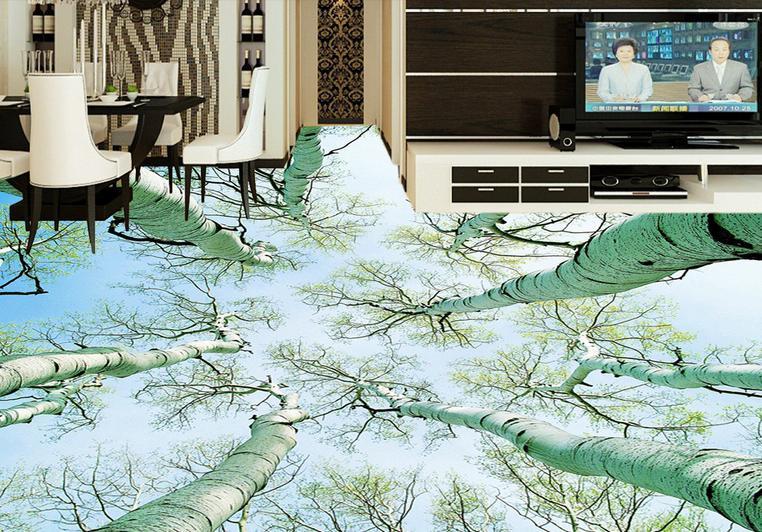 flooring wallpaper customize self adhesive wallpaper 3d floor wallpaper pvc forest landscapes 3d room wallpaper<br>