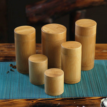 6 size vintage bamboo tea box Storage box tea canister Boxes tea jar caddy seal storage bottle case handmade organizer spice jar(China)