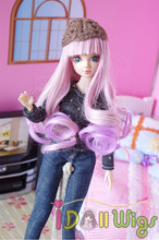 Beautiful lavender purple ombre long french curly wigs for Kurhn/Monster High doll wig