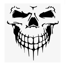 40*36CM Big Reflective Car Door Window Stickers and Decals Funny Decoration Skull Head Auto Truck SUV RV Stickers Accessories