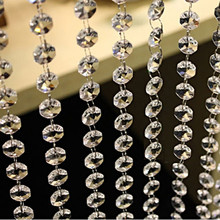 3.3 FT 14mm Octagonal Acrylic Crystal Beads Curtain DIY Garland Strand Shimmer Curtains for Wedding Decoration Party Supplies
