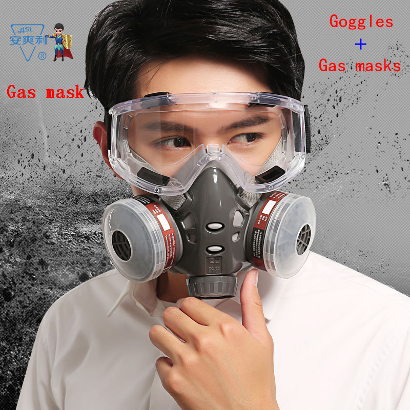 ASL H-308 respirator gas mask Double tank filter Distribution goggles protective mask against pesticide formaldehyde filter mask<br>