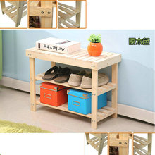 50CM Nature Color Pine Solid Wood Shoes Rack Shelf Storage Shoe Changing Bench Green Healthy(China)