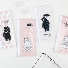 The Bear Missing Someone B6 Mini File Bag Pencil Bag Stationery Storage Organizer Bag School Supply Student Prize