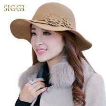SIGGI 100% lana mujeres Fedora sombrero de fieltro sólido Floppy moda  Vintage Brim ancho invierno flor Chapeau otoño primavera e. 5be366805fdd