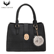 THREE FEATHER Embroidery Line Fashion Famous Brand Handbags Bolsa Feminina Shoulder Bags For Womens Hand Bags Designers Hairball
