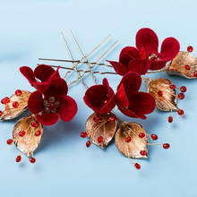 Dower  me Handmade Red Flower Crystal Hair Pins Wedding Prom Hair Jewelry Accessories Gold Leaf Bridal Headwear