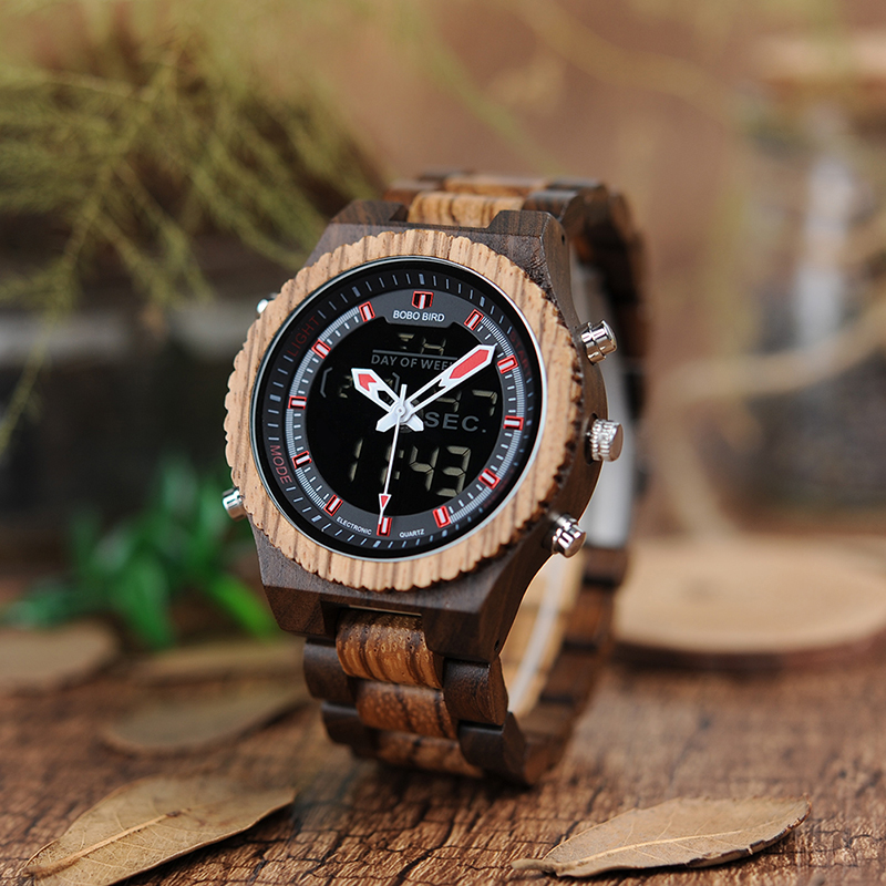 BOBO BIRD Light Mens Watch Stainless Steel Crown Buckle Dual Display Wooden Watches Male Alarm Fashion Reloj Hombre <br>