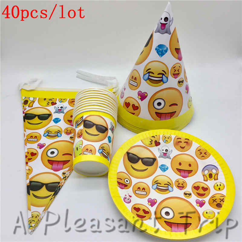 40pcs Lot Emoji Smiley Kids Birthday Party Decor Set Supplies Baby Package