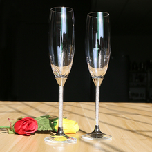 Good quality hot sales free shipping champagne toasting flutes 2pcs wedding set crystal glass wholesale personal customed(China)