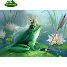 Frog Prince Crown 3D fairy tale style picture DIY diamond painting animal Diamond embroidery scenery Lotus pond Mosaic pattern(China)