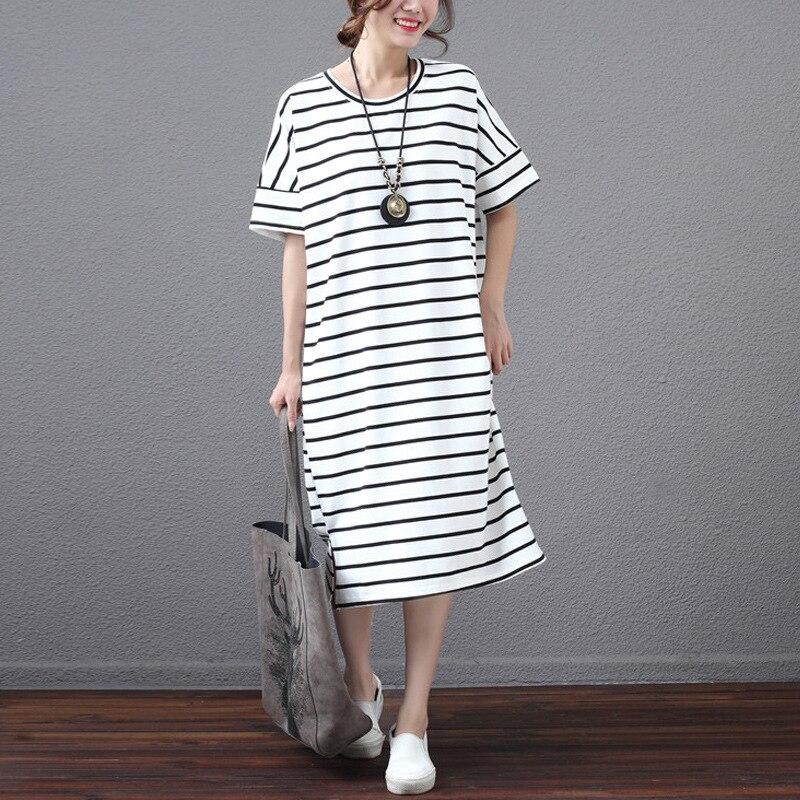Asymsay новый корейский удобные мягкие летнее платье в полоску Для женщин классический хит Цвет Рубашка с короткими рукавами Повседневное Цел...(China)