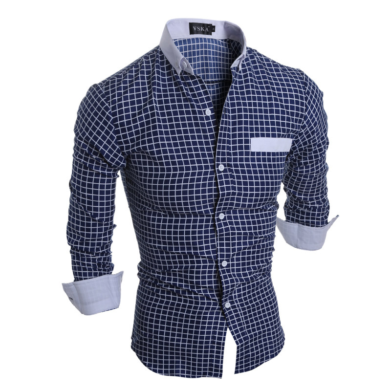 Vska Mens Comfy Non-Iron Slim Fit Casual Leisure Button-Collar Shirts