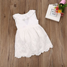 2017 Toddler Kids Baby Girls Lace Dress Princess Party Pageant Holiday Tutu White Bow O-Neck Sleeveless Dresses(China)