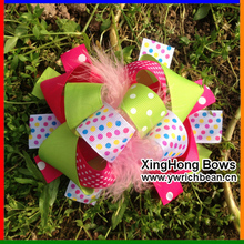 Girl's  Large Boutique bow hair bows with Leopard Printed Hair Accessories Ribbon Sculpture Hair Clippie fashion hair flowers