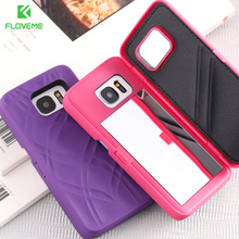 FLOVEME Make-UP Mirror Case For Samsung Galaxy S7 S7 Edge Card Holder Cover For Samsung S8 S8 Plus Flow line PC Cover(China)